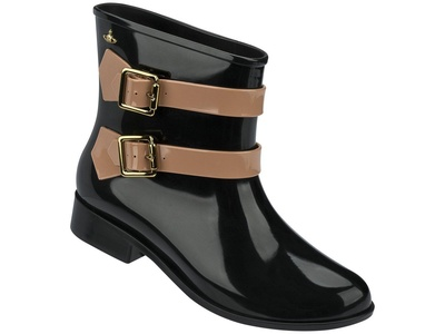 MELISSA + VIVIENNE WESTWOOD ANGLOMANIA MOON DUST BOOT BLACK/BROWN WOMEN'S US SIZE 8