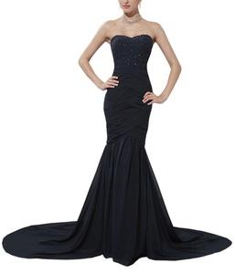YinWen Women's Sweetheart Strapless Ruched Beads Mermaid Long Formal Lady Evening Dress Prom Gown Black 16 US
