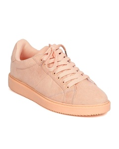 Qupid FE91 Women Faux Suede Almond Toe Lace Up Sneaker - Pink (Size: 8.5)