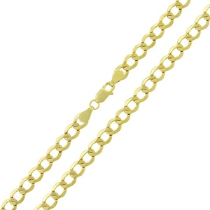 14k Yellow Gold Mens Womens 5.5mm Hollow Cuban Curb Link Chain Necklace 18