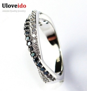 Dudee Jewelry Black Crystal Ring Jewelry White CZ Men Ring for Wedding Love Y022