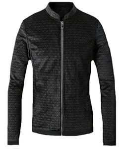JEWOSSR Men's Premium Pleuche Full-Zip Slim Jacket Black 2XL