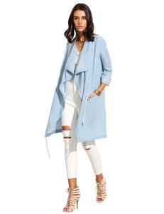 Milumia Women's Casual Long Sleeve Open Cardigan Wrap Trench Coat Blue S