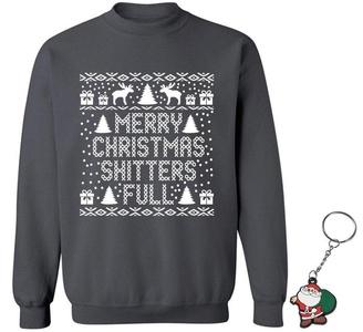 Raxo Merry Christmas Shtters Full Crewneck Christmas Sweatshirt + Key Chain S Charcoal