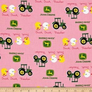 John Deere Nursery Duck Duck Tractor Pink Fabric By The Yard