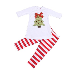 Franterd Baby Girls Clothes Set, Long Sleeve Christmas Trees T-shirt Tops+Pants (Gray, 6T(Label Size:110))