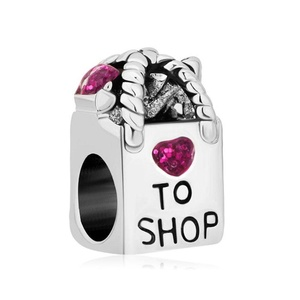 Charmed Craft Pink Heart Rhinestone Charms To Shop Shopping Bag Girl Women Jewelry Fit Pandora Bracelets