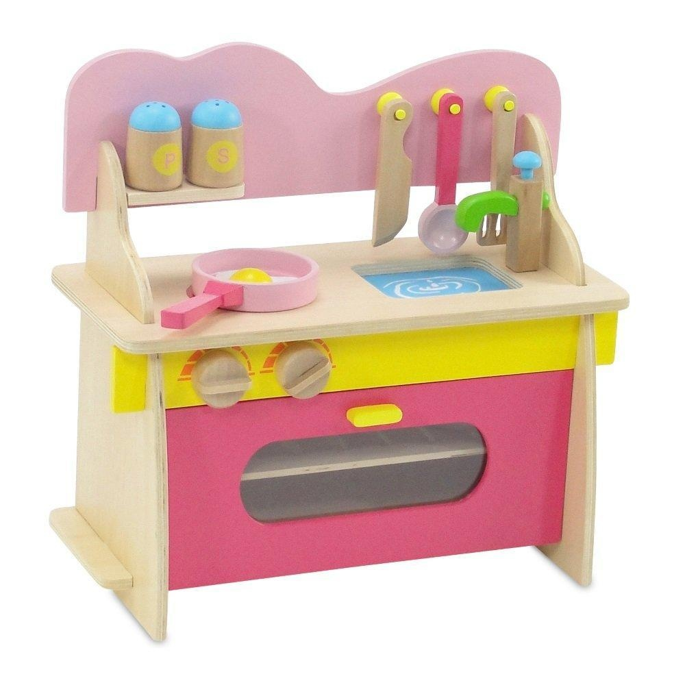Online Store 18 Inch Doll Furniture Pink Multicolored Wooden Kitchen Set With Oven Stove