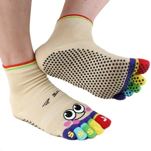 Cartoon 5 Toes Non Slip Skid Yoga Socks with Grips Cotton for Women (yellow)