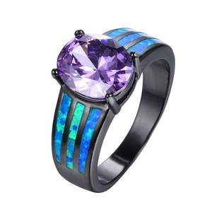 CHIC Fashion Purple Round Ring With Zircon Blue Fire Opal Ring Black Gold Wedding Rings 6.0