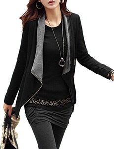 OURS Women Open Front Draped Asymmetric Zipper Blazer Jacket (L, Black)