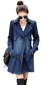 SiYuan Women's Double Breasted Button Down Ripped Denim Trench Coat 2XL