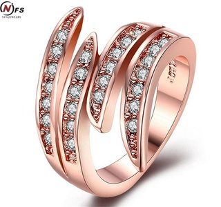 Dudee Jewelry Curved Lines Micro Cubic Zirconia CZ Paved Ring Rose Gold Plated Jewelry SWA Elements Austrian Crystal Ring