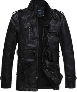 S&S Mens Solid Buckle Collar Full Zip Belted Fur Lined Leather Jackets Racer Leather Jacket