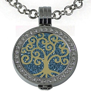 Quiges - Women Stainless Steel Necklace with 25mm Coin Locket and Coin Tree of Life/Flower of Life #1374