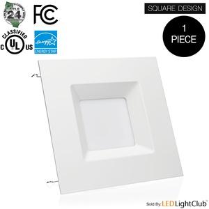 (1 Pack) - 6-inch LED Square Downlight LED Trim, 15W, Square Recessed Light, Retrofit LED Recessed Lighting Fixture, Dimmable, Retrofit Kit Down Light, 3000K (Soft White), LED Ceiling Light
