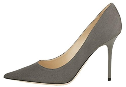 Maovii Women's Stiletto Heels Big Size Shoes Pointed Toe Ladies Solid Pumps for Daily Work Place Dress Party 12 M US Grey Suede