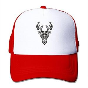 Black White Ram Head Fashion Red Mesh Hat