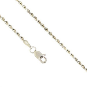 14K White Gold Men Women's 1.0MM Rope Diamond Cut Necklace Chain Link Lobster Clasp, 16-24 Inches