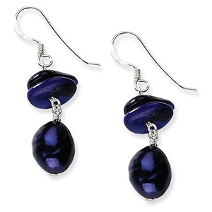 .925 Sterling Silver 34 MM Dark Blue Mother of Pearl & Freshwater Cultured Pearl Earrings