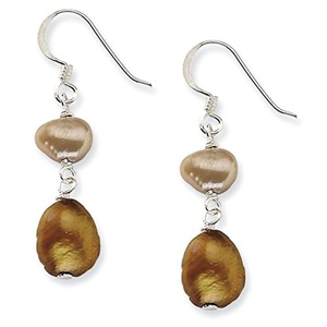.925 Sterling Silver 36 MM Champagne & Copper Freshwater Cultured Pearl Earrings
