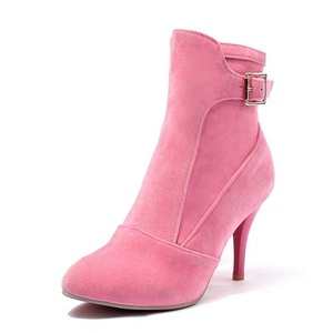 Women's Elegant Patent Pointed Toe Stiletto High Heel Ankle Bootfor Fall Winter Pink Size: EU Size 39 - US B(M) 8