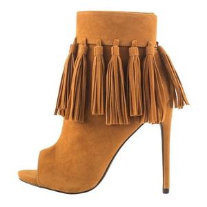 MERUMOTE Women's Meeosace Peep-toe High Heels Ankle Boots Camel 13 US