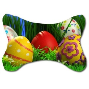 Custom Travel Car Seat Neck Pillow Easter Eggs Bone Shape Neck Rest Cushion (Only One)
