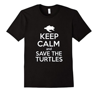 Men's Keep Calm And Save The Turtles Shirt XL Black