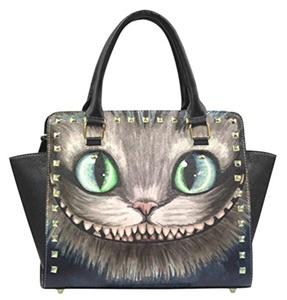 Cheshire Cat Face Print PU Leather Fashion Female Top-handle Tote Rivet Shoulder Handbags