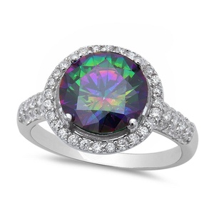 Solitaire Accent Halo Wedding Engagement Ring Round Rainbow Cubic Zirconia Round CZ 925 Sterling Silver