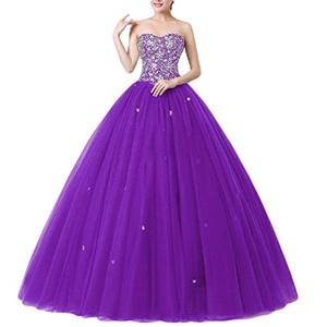 Favors Women's Sweetheart Ball Gown Beading Floor Length Quinceanera Dress Purple 20W