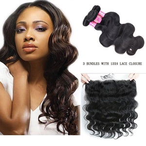 XCCOCO Hair 3Bundles and Lace Closure Brazilian Body Wave Human Hair Extension 8A Body Wave Human Hair bundles with Lace Frontal With Baby Hair Virgin Hair Wefts Extensions(1b,,16
