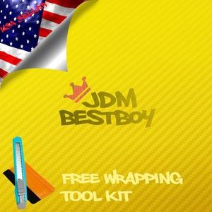 Free Tool Kit EZAUTOWRAP 3D Yellow Carbon Fiber Textured Car Vinyl Wrap Sticker Decal Film Sheet - 60