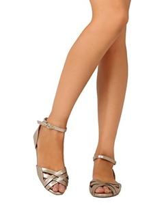 Qupid FE90 Women Metallic Leatherette Peep Toe Weave Ankle Strap dOrsay Flat - Gold (Size: 9.0)