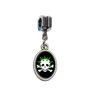 Graphics and More Skulls and Crossbones Dad Stick Figure Family - Father Italian European Euro Style Bracelet Charm Bead - Fits Pandora, Biagi, Troll, Chamilla, Others