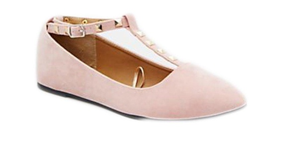 Charles Albert Women's Studded Accent T-Strap Pointed Toe Ballet Flats (11, Nude)
