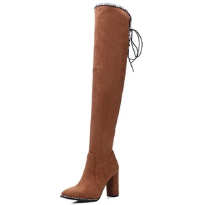 Nine Seven Suede Leather Women's Pointed Toe Chunky Heel Lace Up Thigh High Handmade Boot (9, brown)