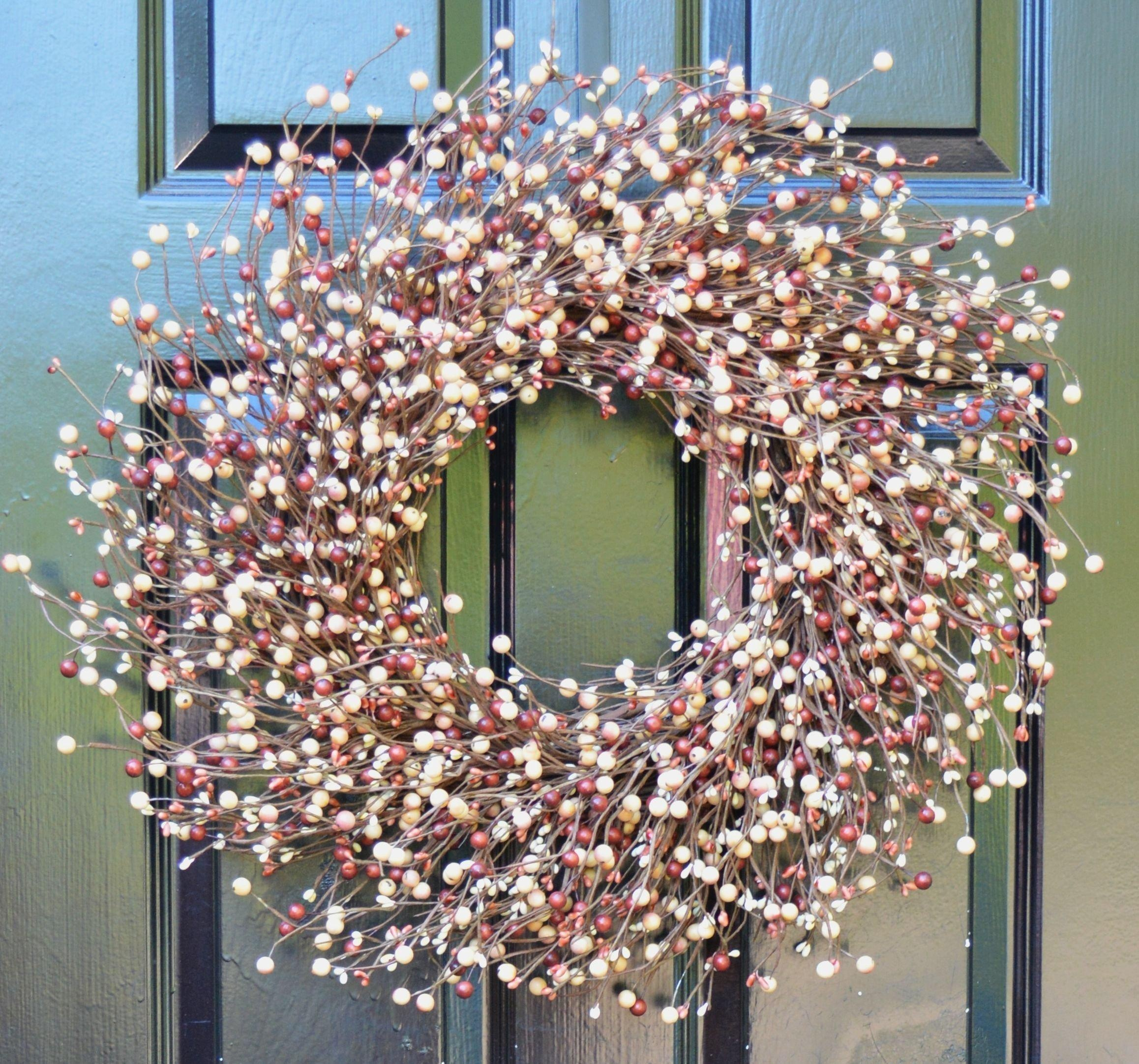 Front door decor for all seasons - Elegant Holidays Handmade Burgundy Berry Wreath Decorative Front Door To Welcome Guests For Outdoor