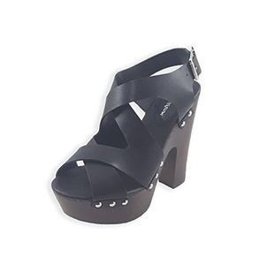 Glister Women's Eric-01 Chunky High Heel Platform Sandals Eric 01 9 Black