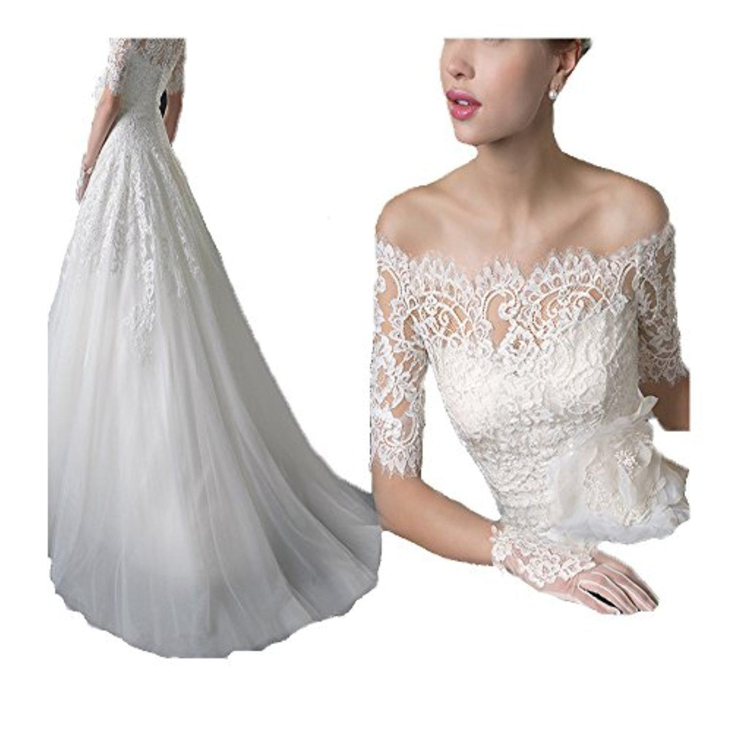 Creative Off Shoulder Lace Ball Gown Wedding Dress with Half Sleeves