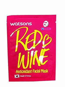 2 Mask Sheets of Watsons Antioxidant Facial Mask with Red Wine. Which Help Skin Rejuvenation, Leaving You with More Refined and Supple Looking Skin. (21 Ml Essence/ sheet)