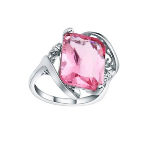 Womens Jewelry Pink Crystal Zircon CZ Sterling Silver Engagement Party Finger Ring US 7.8.9