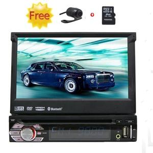 7 Inch Single 1 Din GPS Car DVD Player Digital Touchscreen Car Stereo Autoradio Bluetooth GPS Navigation Car Radio Player in Dash Car Audio Supports iPod usb sd Free 8gb Map card & HD Rearview Camera