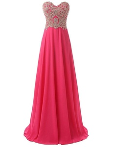 Winnie Bride 2017 Cheap Long Formal Evening Gown Appliqued Women's Prom Dress-18W-Deep Pink