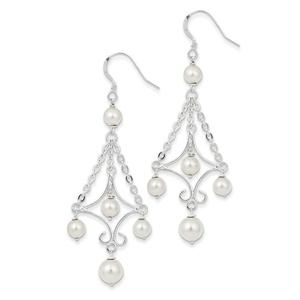 .925 Sterling Silver 67 MM Freshwater Cultured Pearl Dangle Shepherd Hook Earrings