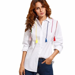 Gillberry Women Long Sleeve Cotton Tops Color Tassel Pendant Shirt Blouse (L, White)