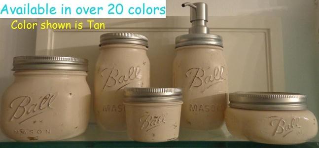 5 Piece Mason Jar Bathroom Organization Set - Painted Mason Jar Set - Mason Jars Soap Dispenser - Mason Jar Set - Tan Jars