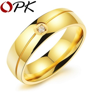 delatcha Jewelry Stainless Steel Cubic Zirconia Ring For Men Women Gold / Black / Silver Wedding Band Fashion Ring Jewelry GJ501