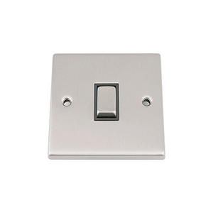 10A Intermediate Switch 1 Gang Satin Matt Chrome - Square - Black Insert Metal Rocker Switch by A5 Products